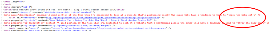 escaped meta description causing HTML error