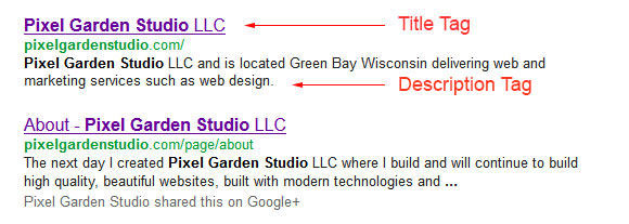 Example of how meta tags are displayed in search results